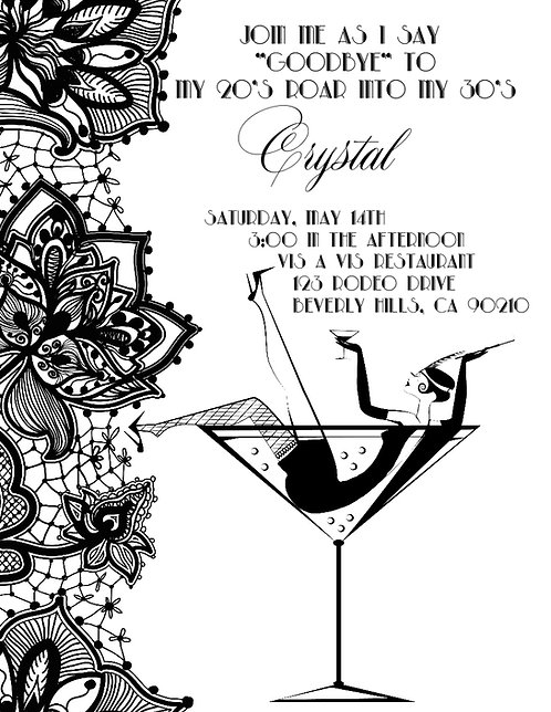 Gatsby Champagne Birthday Party and  Event Invitation