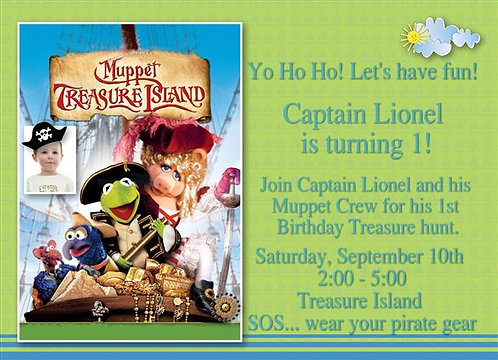 Muppets Treasure Island Birthday Party Invitation