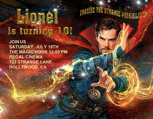 Dr Strange Birthday Party and  Event Invitation (sold in sets of 10)