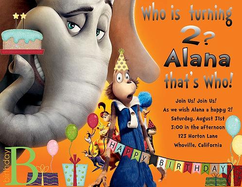 Horton hears a Who Birthday Party Invitation
