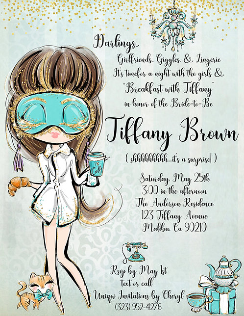 Tiffany Audrey Sleepover Bridal Shower Invite (sold in sets of 10)