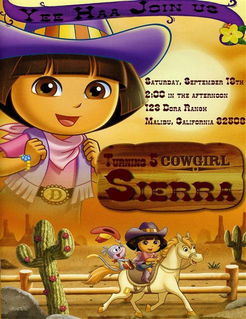 #2 Cow Girl Dora Birthday Party Invitation