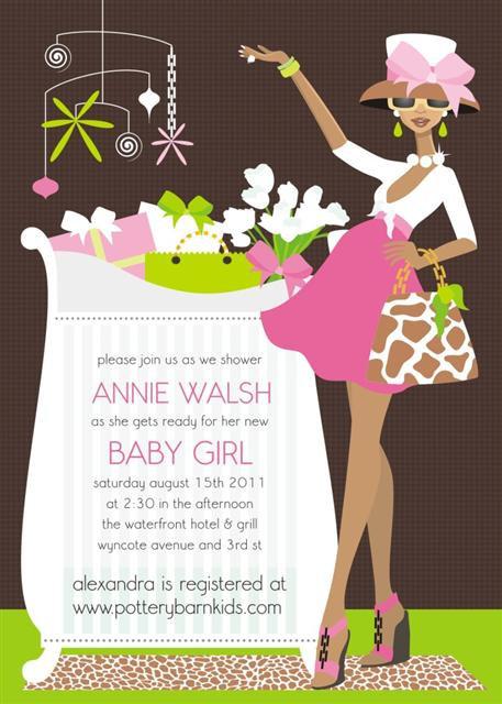 Pink Chic Crib Mom (Ebony) Baby Shower Invitations