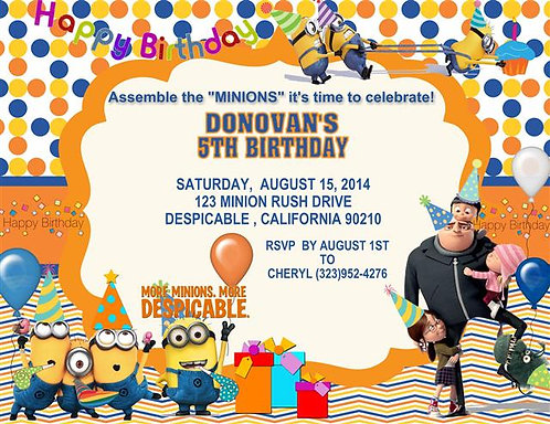 Despicable Me Birthday Party Invitation