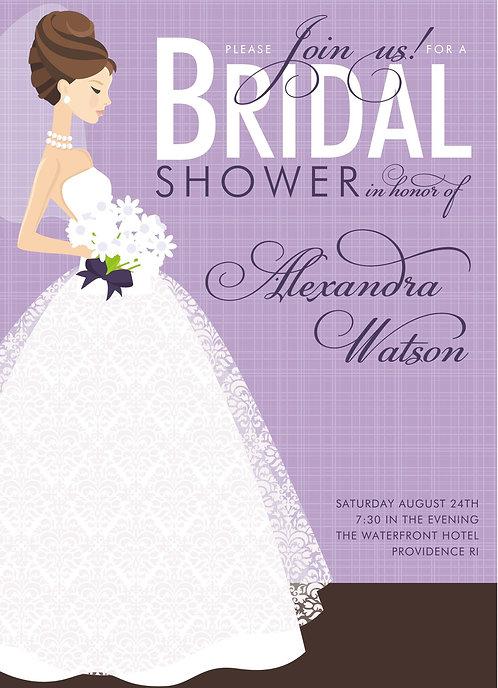 Beautiful Lavender Brunette Bridal Shower and  Event Invitation