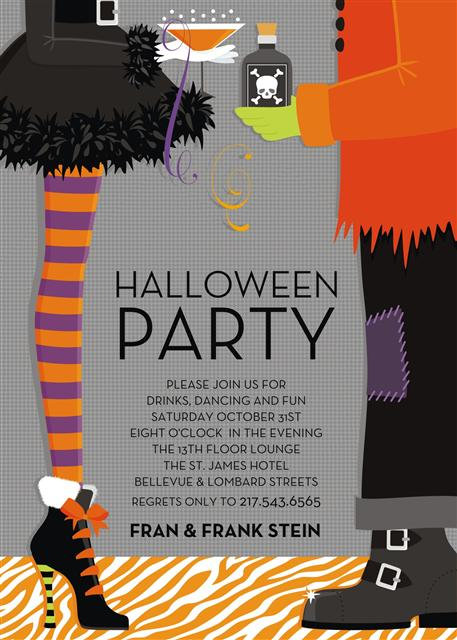 Mr & Mrs Frank Stein Halloween Party and  Event Invitation