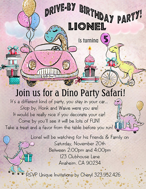Dino Car Safari Drive-By Birthday Party Invitation (sold in sets of 10)