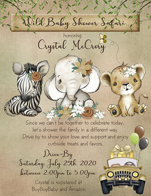Jungle Safari Drive-By Baby Shower Invitations (sold in sets of 10)
