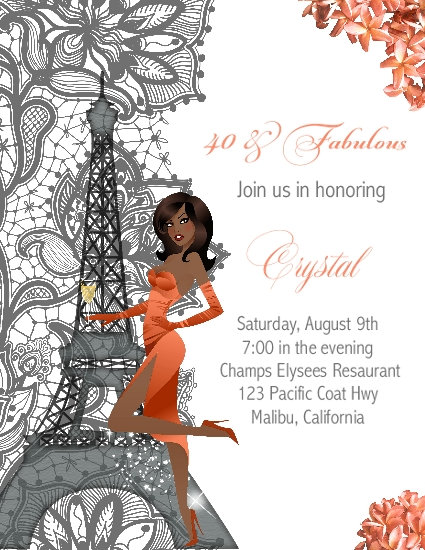 African American I Love Paris Coral Lace Birthday Party and  Event Invitation