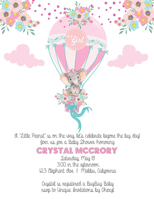 Pink Elephant Baby Shower Invitations (sold in sets of 10)