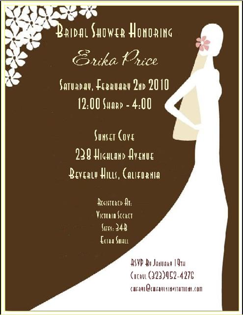 Sophisticated Silhouette Espresso Bridal Shower and  Event Invitation