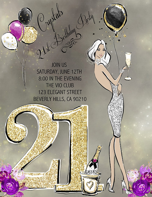 21st Birthday Party Blonde and  Event Invitation (sold in sets of 10)