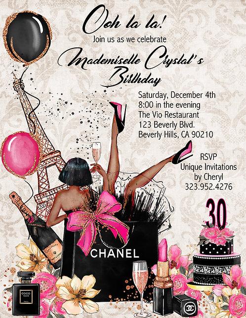 African American Ooh la la Chanel Paris Birthday Invitation (sold in sets of 10)