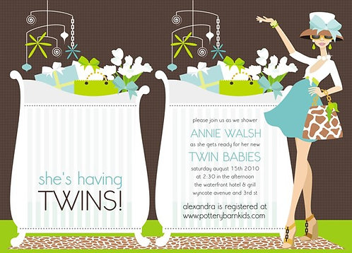She's Having Twins Baby Baby Shower Invitations