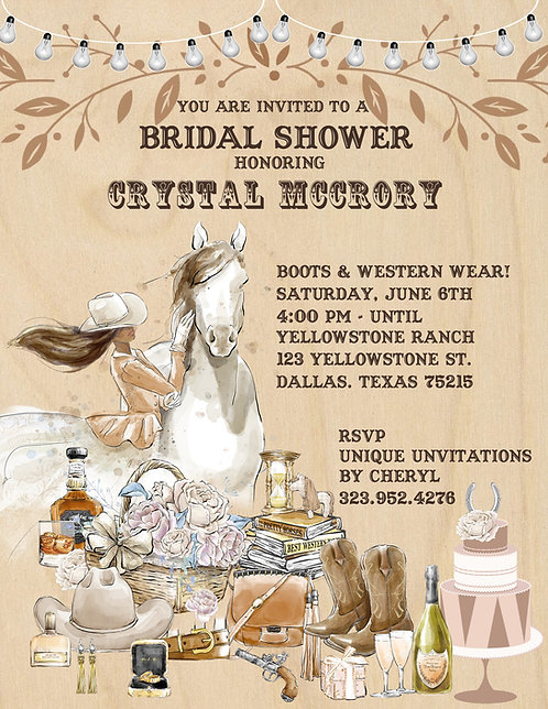 African American Western Bridal Shower Invitation (sold in sets of 10)