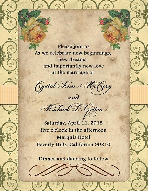 Vintage Yellow Wedding / Event Invitation