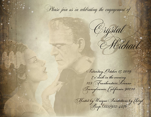 Bride of Frankenstein Party / Event Invitation (sold in sets of 10)