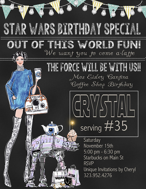 Star Wars Coffee Birthday Party Invitation (sold in sets of 10)