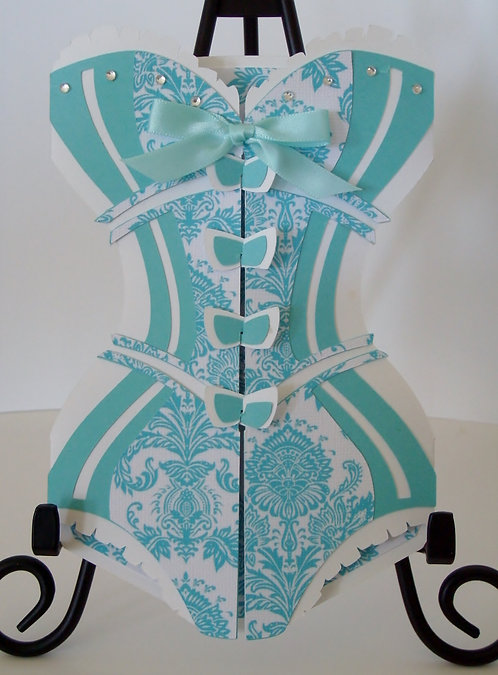Tiffany Blue & White Damask Corset Invitation