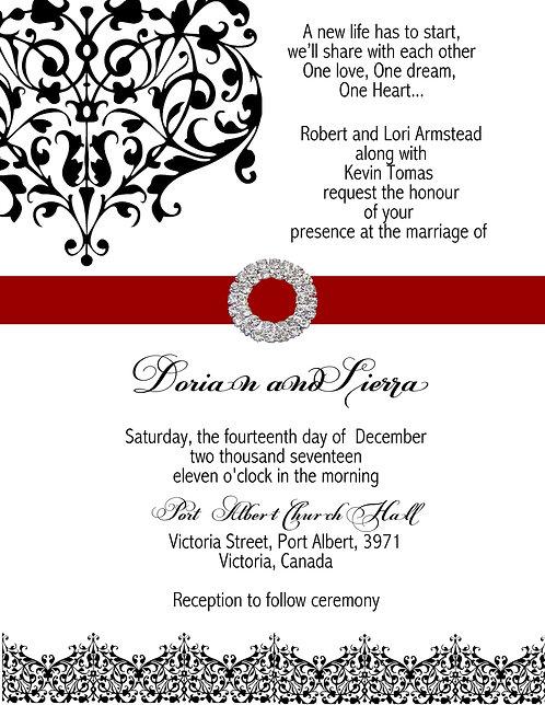 Red Flourish Wedding / Event Invitation
