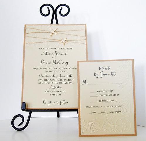 Starfish Beach Wedding / Party Invitation