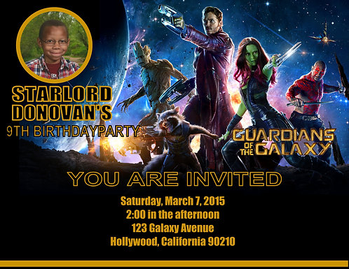 #2 Guardians of the Galaxy Birthday Party Keepsake Bottle Invitation