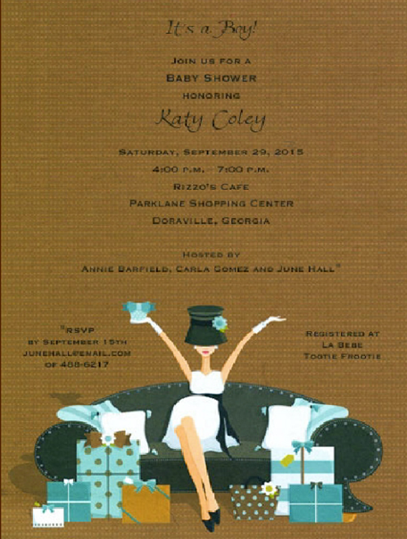 Blue Boy on a Couch Baby Shower Invitations
