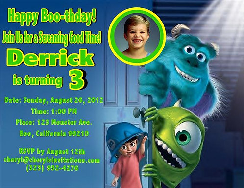 Monster's Inc Birthday Party Invitation