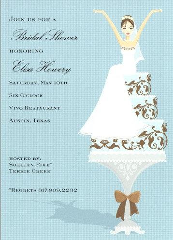 Cake Lady Brunette Bridal Shower and  Event Invitation