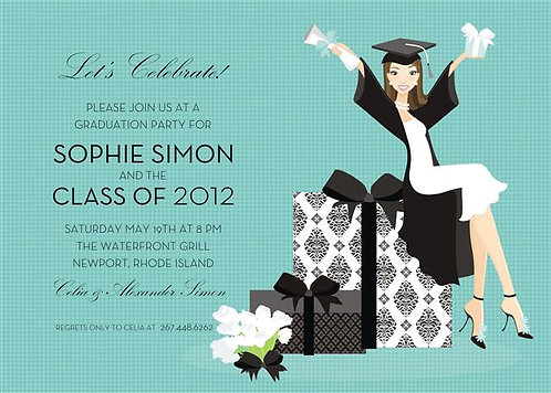 Brunette Grad Presents Party and  Event Invitation