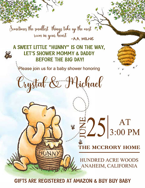 Classic Pooh Hunny Baby Shower Invitations (sold in sets of 10)