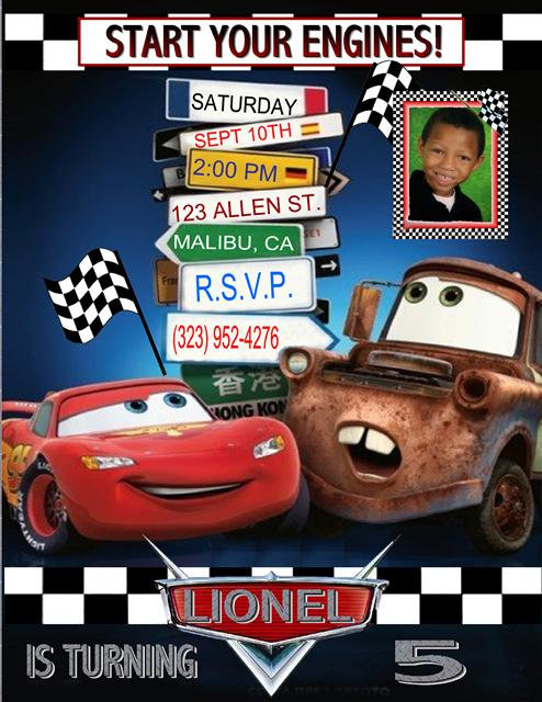 Road Sign Cars Birthday Party Invitation