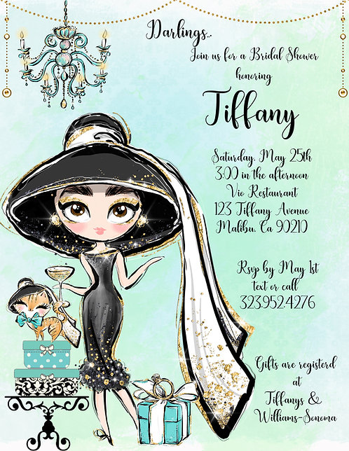 Tiffany Audrey Bridal Shower Invitation (sold in sets of 10)