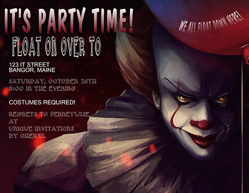 "Pennywise ""IT"" Party  / Event Invitation (sold in sets of 10)"
