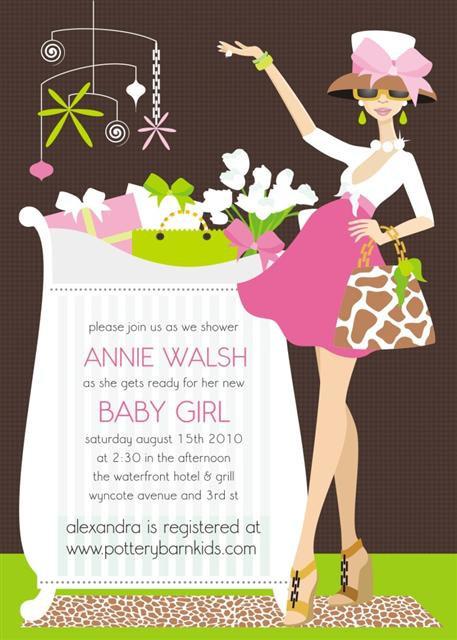 Pink Chic Crib Mom Baby Shower Invitations