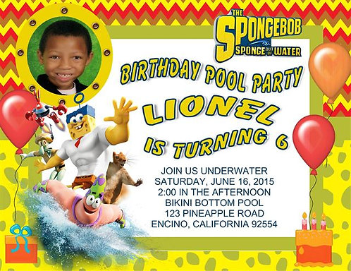 #2 Spongebob Underwater Birthday Party  Invitation
