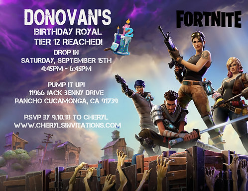 Fortnite Birthday Party and  Event Invitation (sold in sets of 10)
