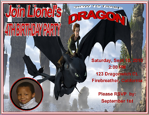 Train Your Dragon Birthday Party Invitation