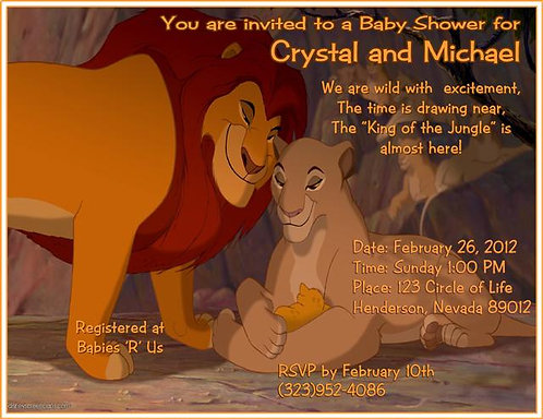 #16 Lion King Baby Shower Invitations