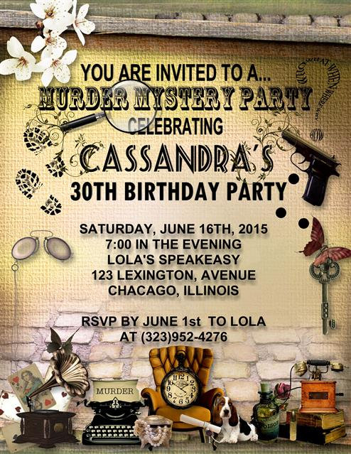 Murder Mystery Birthday Party and  Event Invitation