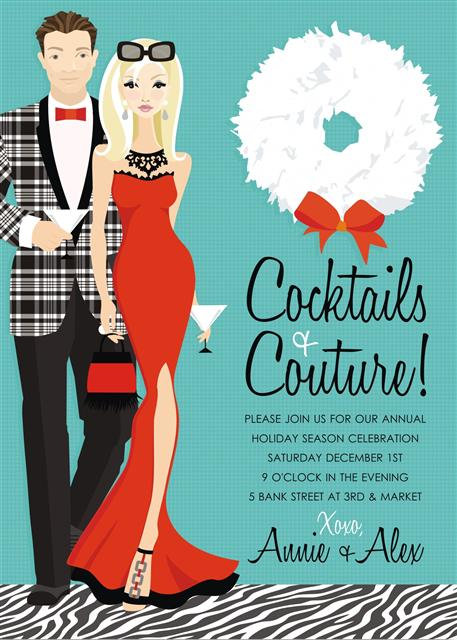 Blonde Cocktails and Couture Holiday Party and  Event Invitation