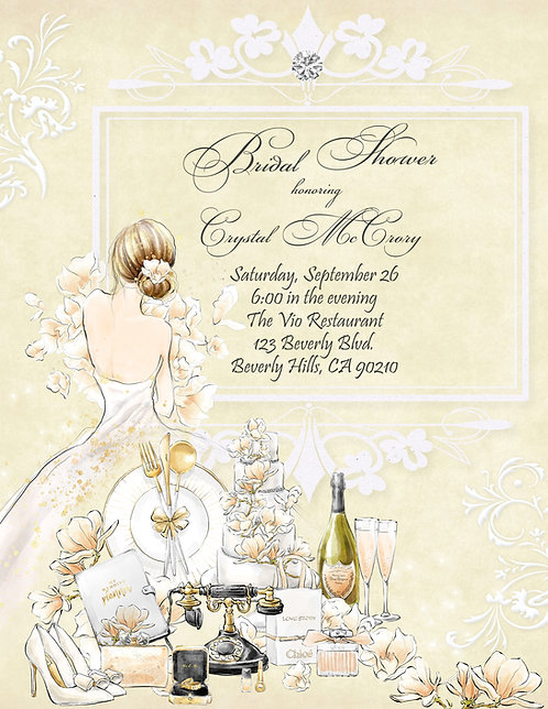Champagne and Flowers Bridal Shower Invitation (sold in sets of 10)