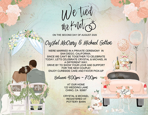 African Amer. We Tied the Knot Drive-By Invitation (sold in sets of 10)