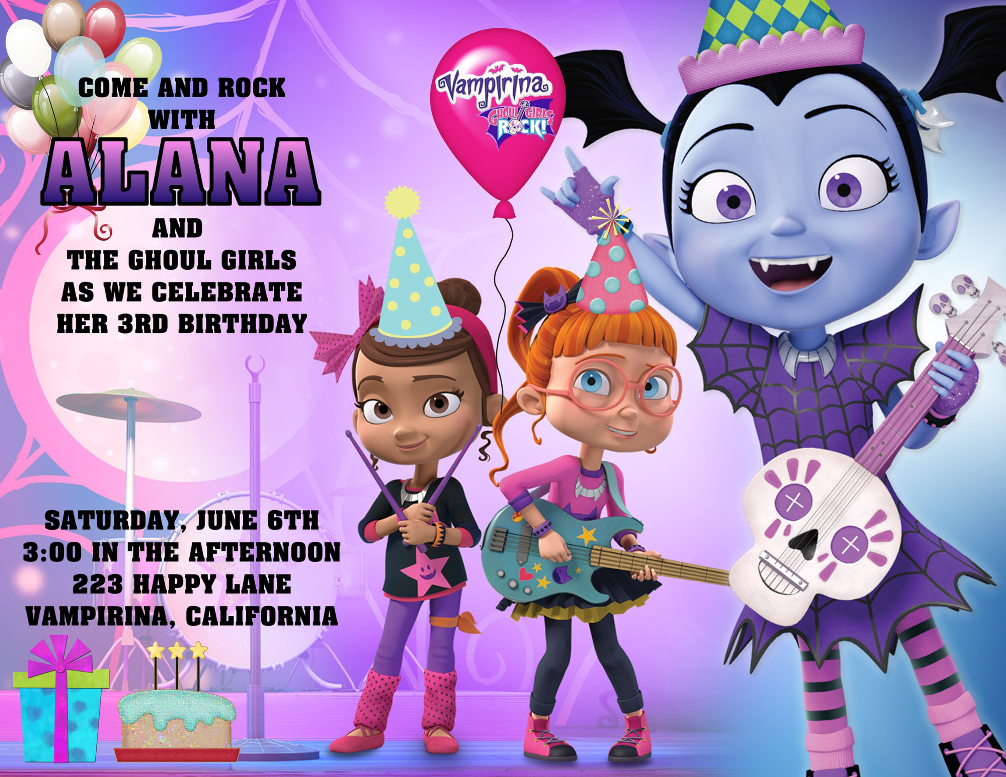 Vampirina And The Ghouls Rock Birthday Invitation Sold In Sets Of 10