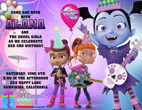 Vampirina and the Ghouls Rock Birthday Invitation (sold in sets of 10)