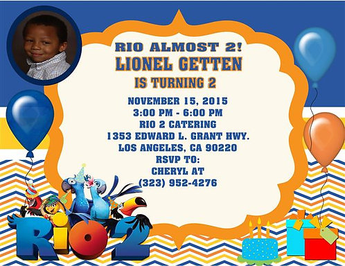 Rio Trip Birthday Party Invitation