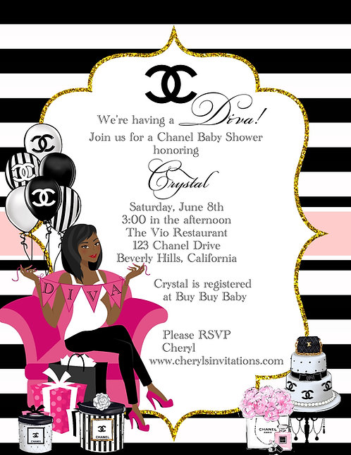 Chanel Diva Baby Shower Invitations (sold in sets of 10)