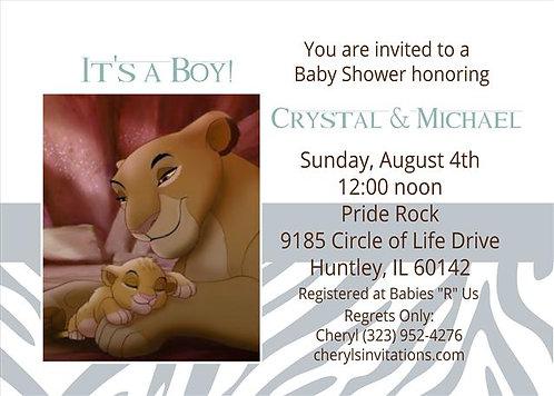 #2 Lion King Prince Baby Shower Invitation