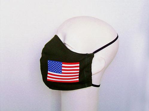 US Flag Contoured Face Mask with Filter Pocket