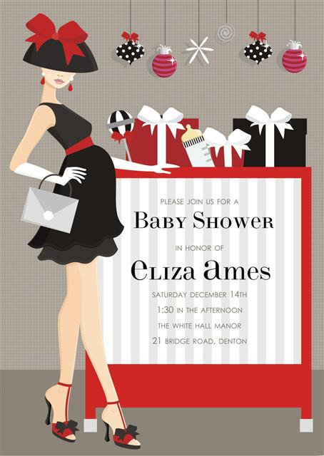 Chic Holiday Baby Shower Invitations